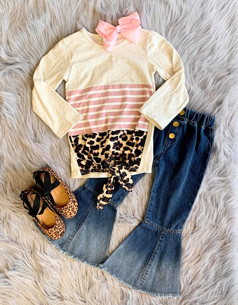 LEOPARD COLORBLOCK TIE FRONT TOP