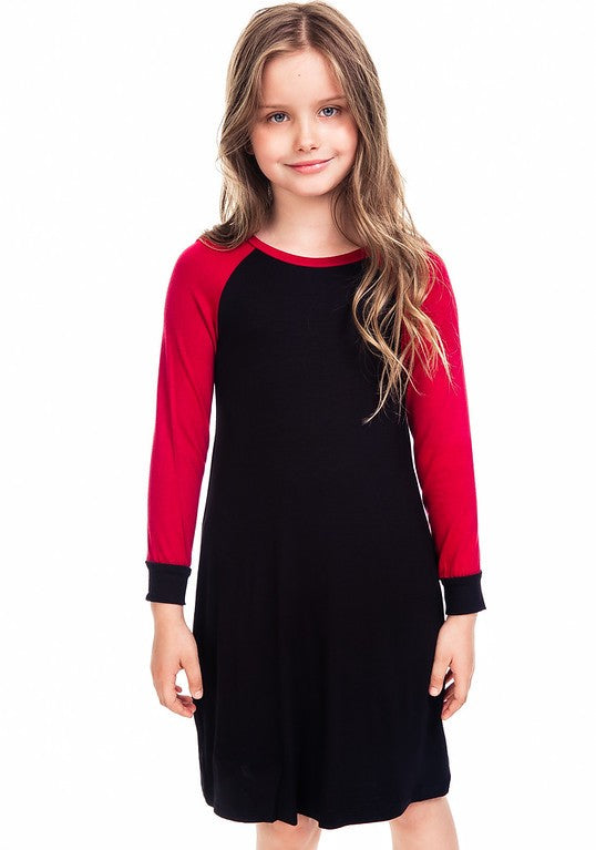 CRIMSON/BLACK BASEBALL SLEEVE DRESS