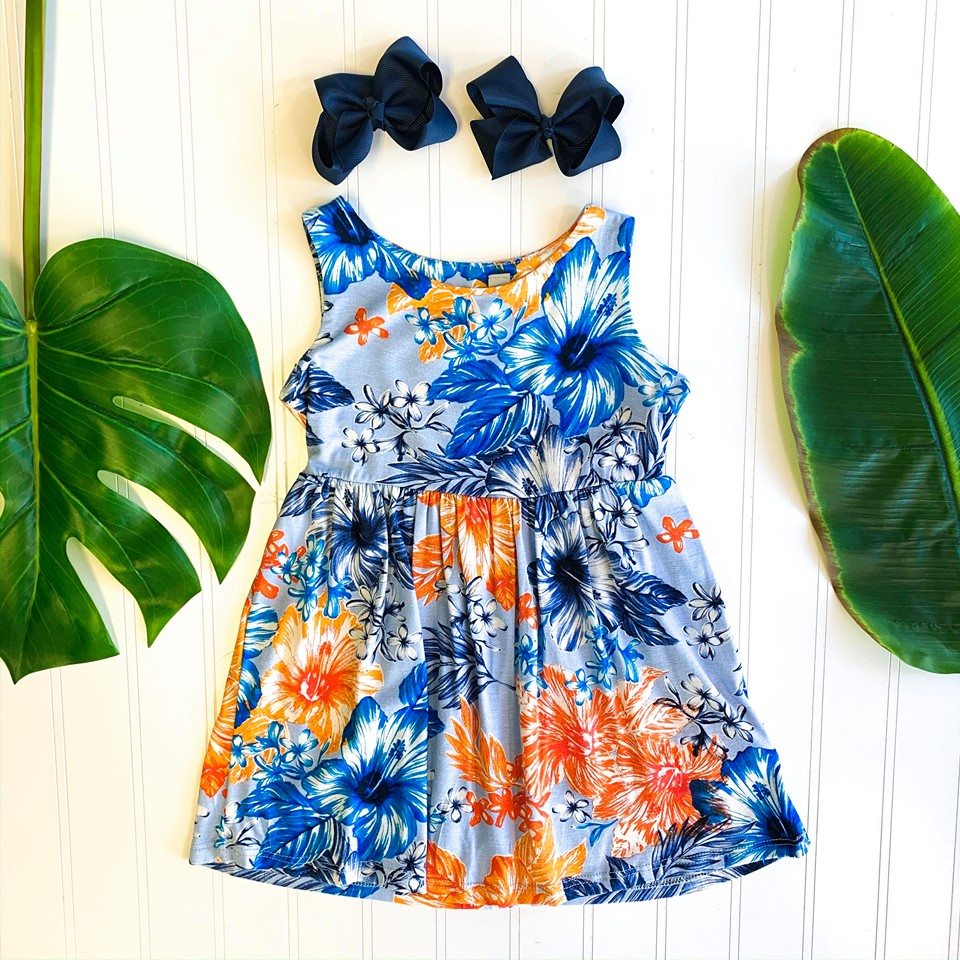FLORAL BLUE TODDLER FLORAL DRESS