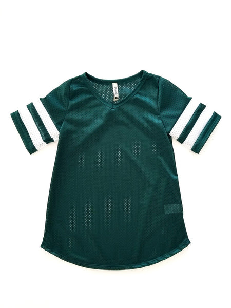 GREEN AND WHITE MESH JERSEY TOP