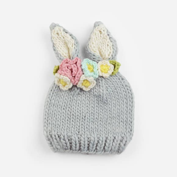 BAILEY BUNNY W/ FLOWERS KNIT HAT