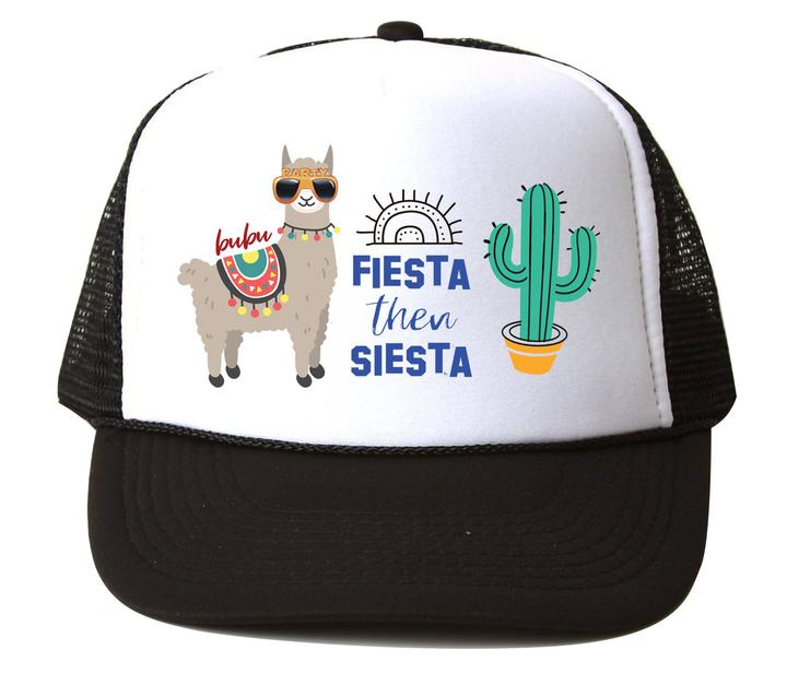 FIESTA THEN SIESTA BLACK/WHITE TRUCKER HAT