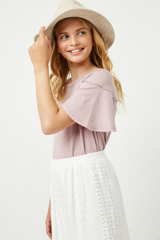 mauve flutter sleeve top