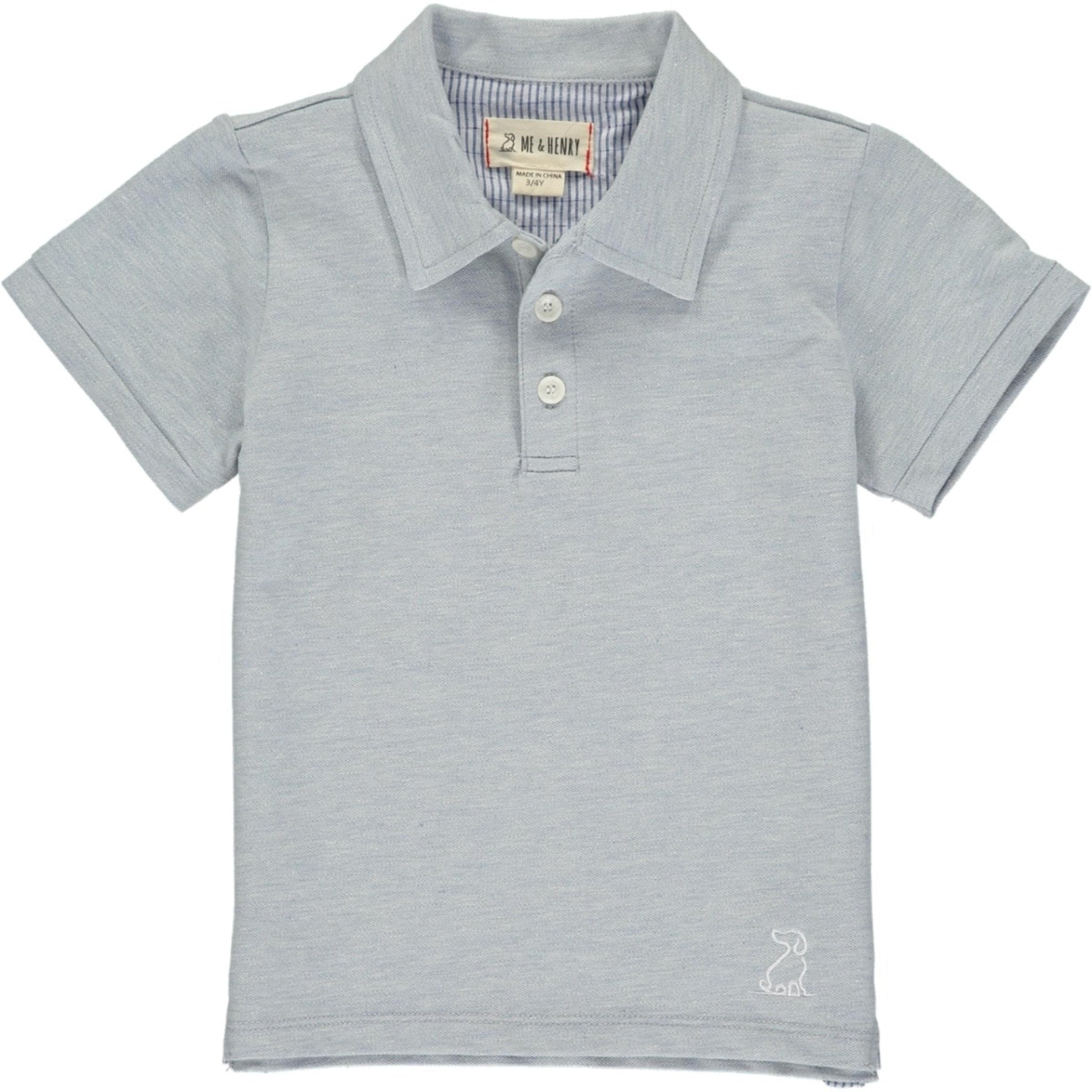 PALE BLUE COTTON PIQUE POLO
