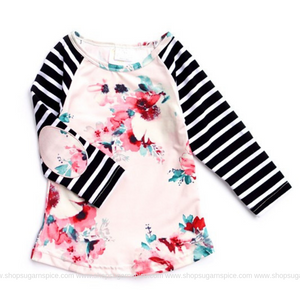 STRIPE FLORAL BLACK GIRLS TOP