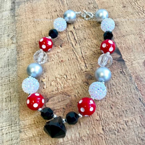 BLACK AND RED BUBBLE NECKLACE