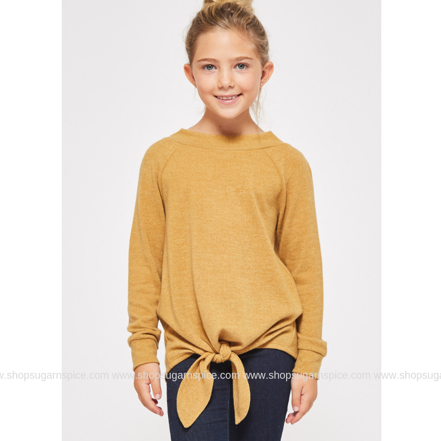 HADLEY MUSTARD TIED TUNIC SWEATER