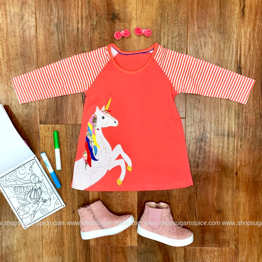 CORAL KNIT UNICORN DRESS