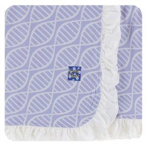 LILAC DOUBLE HELIX RUFFLE STROLLER BLANKET