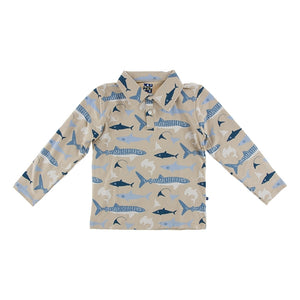 BURLAP SHARKS L/S PERFORMANCE JERSEY POLO
