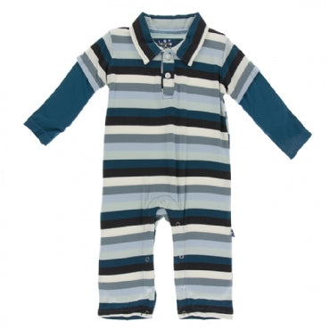 METEOROLOGY STRIPE L/S DOUBLE LAYER POLO ROMPER