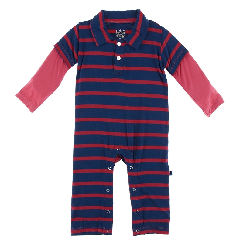 EVERYDAY HEROES NAVY STRIPE L/S DOUBLE LAYER POLO ROMPER