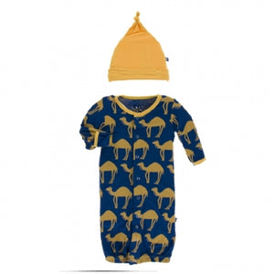 NAVY CAMEL LAYETTE GOWN CONVETER & KNOT HAT SET