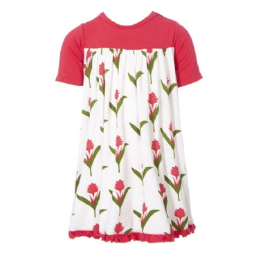 NATURAL RED GINGER FLOWERS CLASSIC SS SWING DRESS