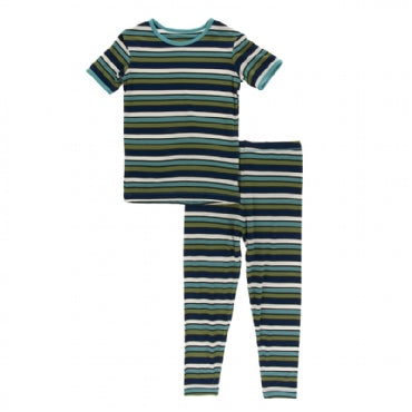 KIDS BOTANY GRASSHOPPER STRIPE SS PAJAMA SET
