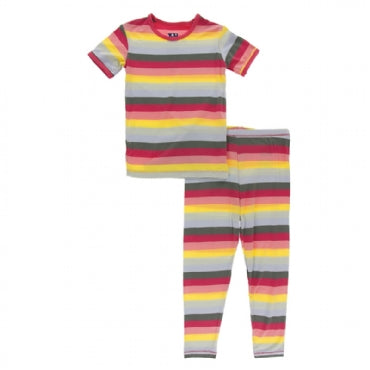 KIDS BIOLOGY STRIPE S/S PAJAMA SET