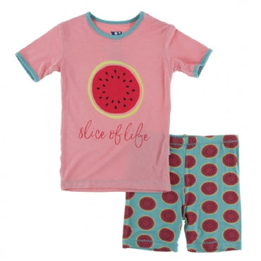 INFANT NEPTUNE WATERMELON SS SHORT PAJAMA SET