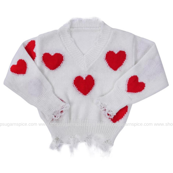 LITTLE GIRL DISTRESSED HEART SWEATER