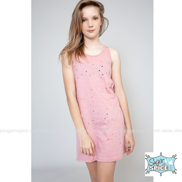 DUSTY PINK DISTRESSED HOLE RACERBACK TANK DRESS