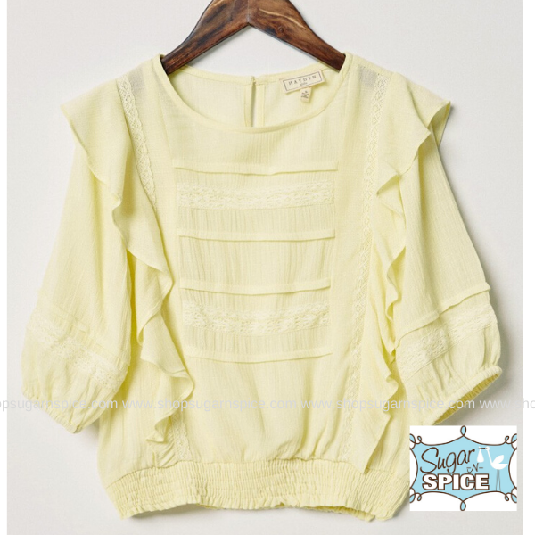 LEMON RUFFLE SMOCK WAIST LACE TOP