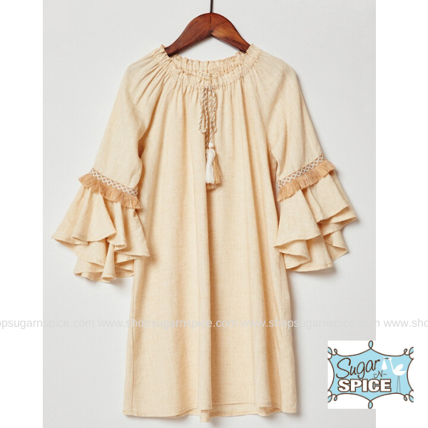 OATMEAL BELL SLEEVE TASSEL TIE DRESS