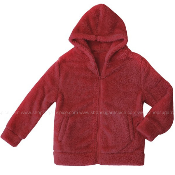 CRANBERRY TEDDY FURRY FLEECE JACKET