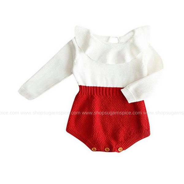 CAROL RED KNITTED ROMPER