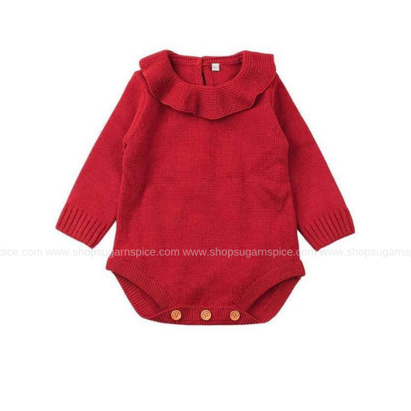 AUDREY RED KNITTING PATTERN ROMPER