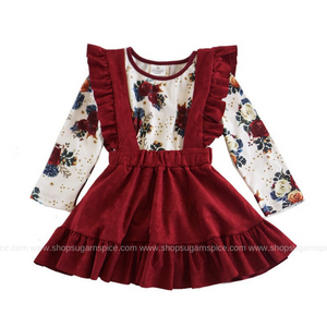 MAROON SUSPENDER SKIRT W/ FLORAL PRINT TOP SET