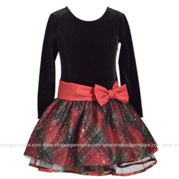 BLACK VELVET LS DRESS W/ PLAID SKIRT