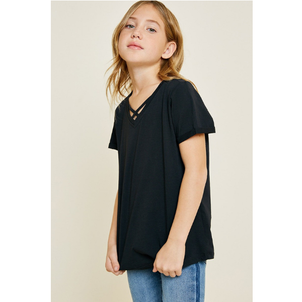 BLACK V-NECK CRISS CROSS TEE