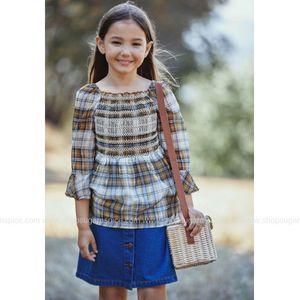 EVERLY MUSTARD PLAID TOP