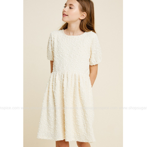 HARPER TEXTURED KNIT SEQUIN BABYDOLL DRESS