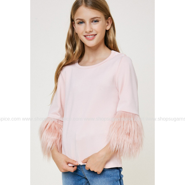 PINK FUR SLEEVE SWEATER TOP