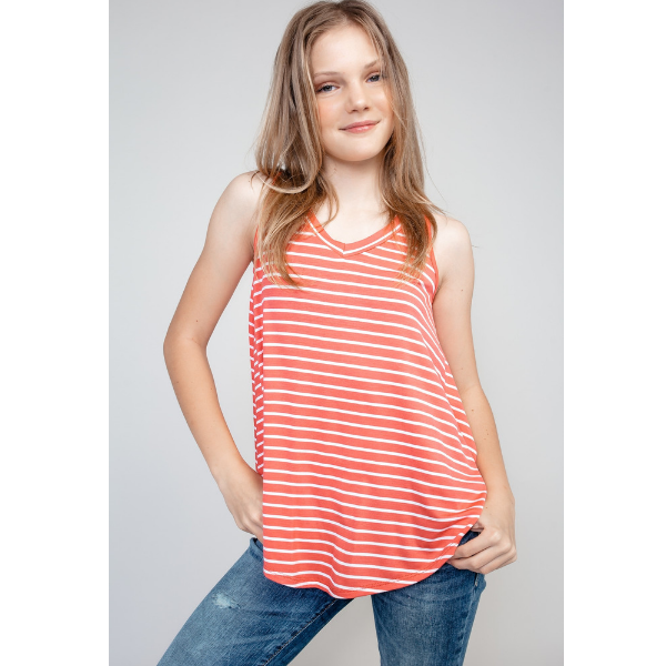 TWEEN STRIPE V-NECK CORAL TOP