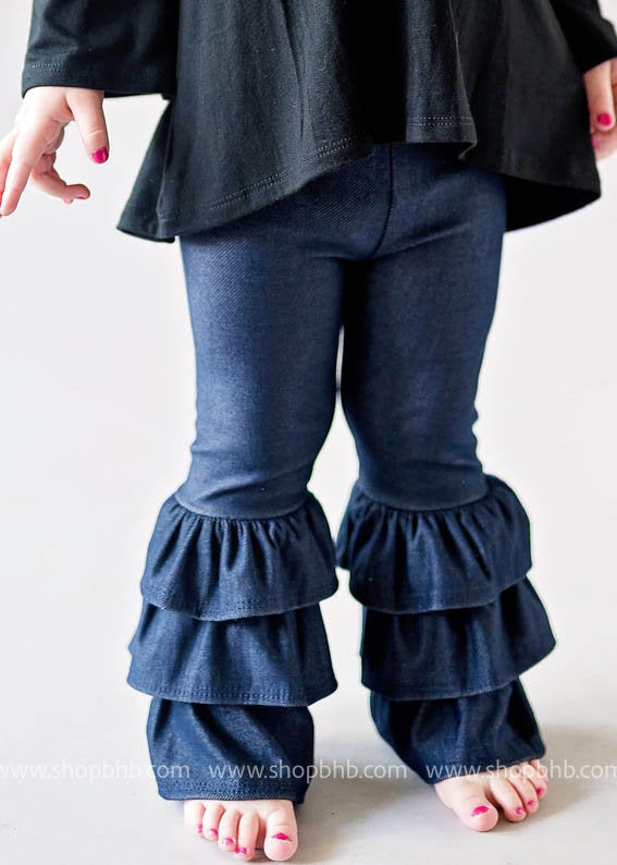 TODDLER KNIT DENIM TRIPLE RUFFLE PANTS