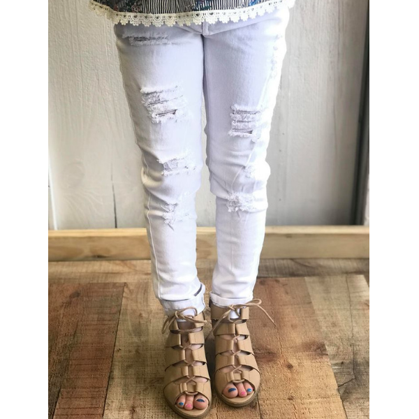 EVER COOL WHITE DISTRESSED JEAN