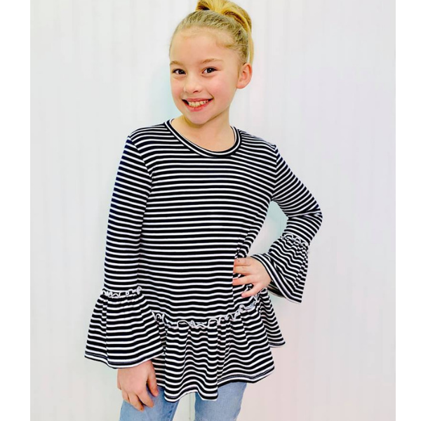 MOLLIE NAVY STRIPE RUFFLE TUNIC TOP