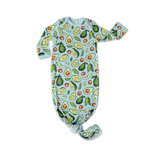 Powder Blue Avocados Bamboo Infant Knotted Gown