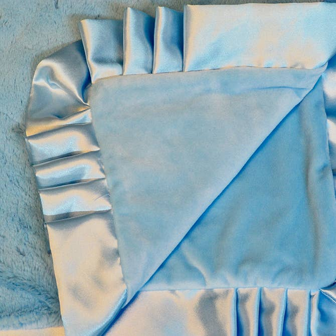 BLUE SATIN TRIM BABY BLANKET