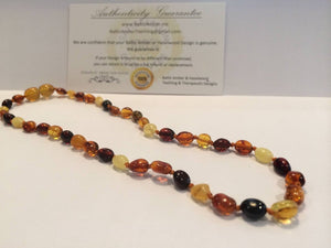 POLISHED BEAN MULI AMBER NECKLACE