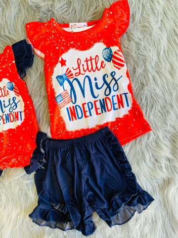 little miss independent shorts set