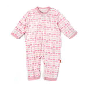 MAGNETIC PINK DANCING ELEPHANTS MODAL COVERALL