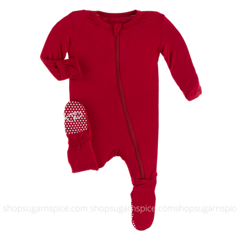 crimson solid zipper footie