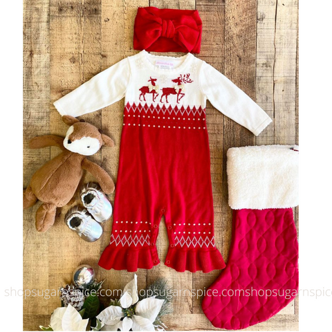 reindeer knit coverall