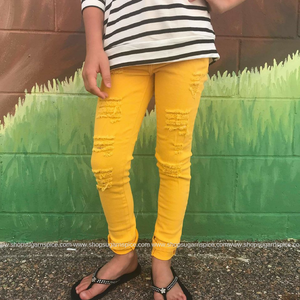 EVER COOL YELLOW DISTRESSED JEAN