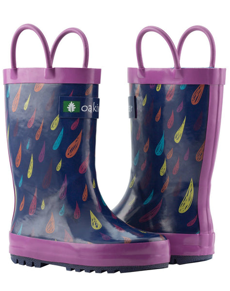 RAINDROPS LOOP HANDLE RUBBER RAIN BOOTS