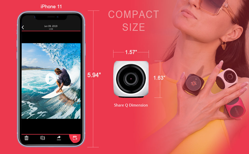 Vupoint share q action camera compact size