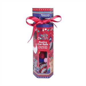 Cupid & Comet Festive Cat Ball Gift Set - 4 Balls