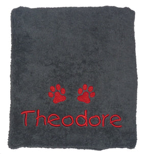 Personalised Dog Bath Towel with Paw Print - Charcoal Grey